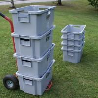 Nokkakärryillä on helppo kuljettaa täysiä laatikoita